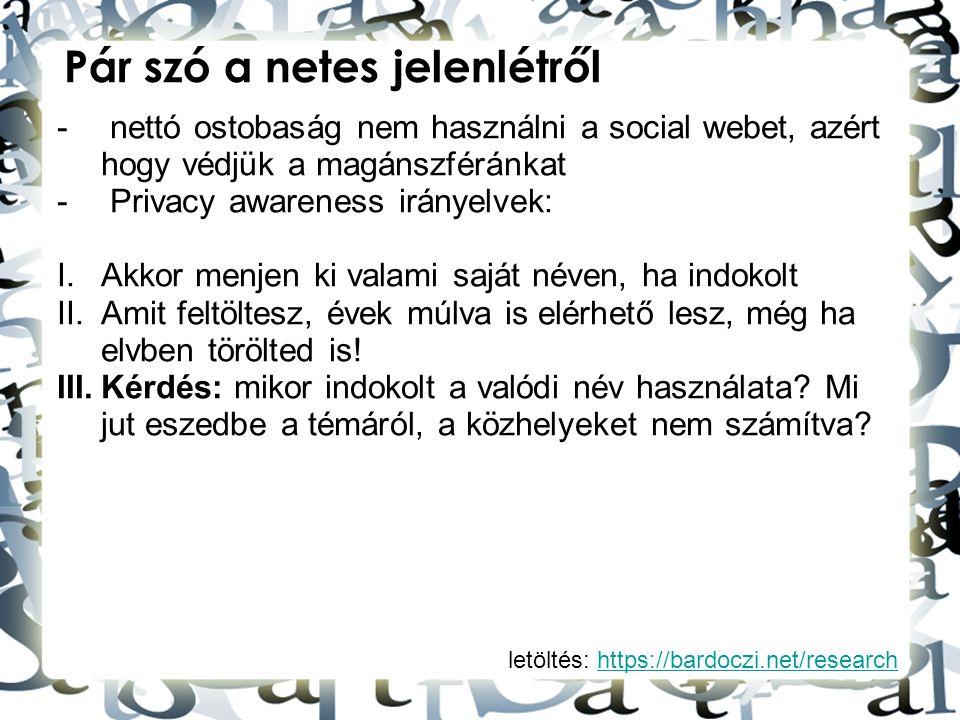 letöltés: https://bardoczi.net/researchhttps://bardoczi.net/research Pár szó a netes jelenlétről - nettó ostobaság nem használni a social webet, azért