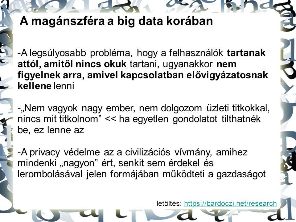 letöltés: https://bardoczi.net/researchhttps://bardoczi.net/research A magánszféra a big data korában -A legsúlyosabb probléma, hogy a felhasználók ta