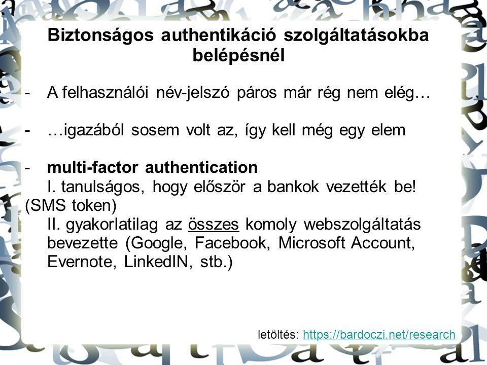 letöltés: https://bardoczi.net/researchhttps://bardoczi.net/research Biztonságos authentikáció szolgáltatásokba belépésnél -A felhasználói név-jelszó