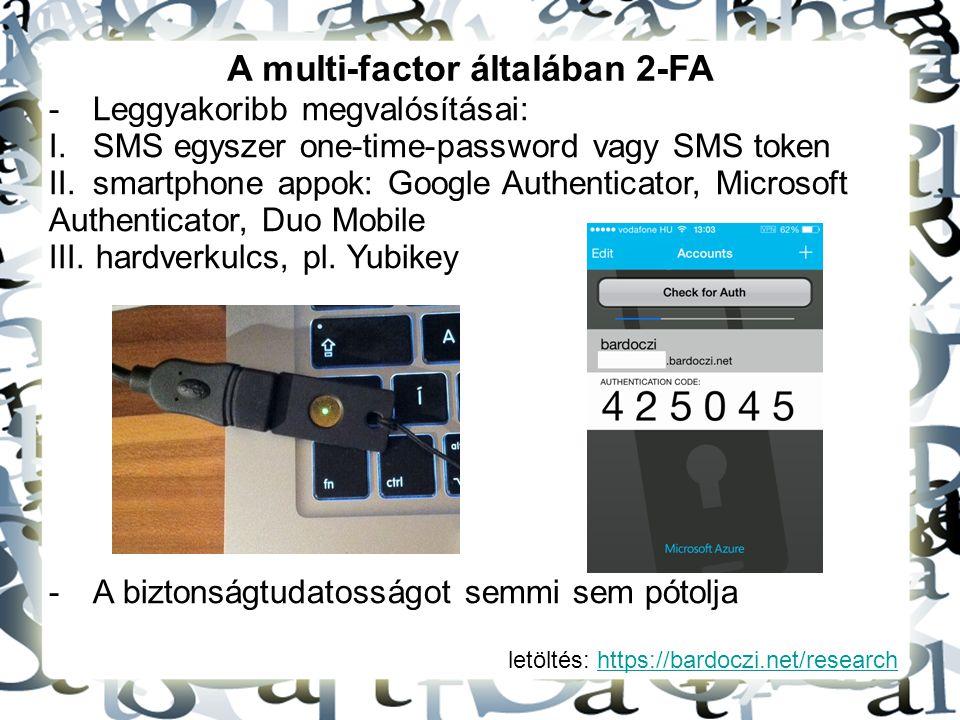 letöltés: https://bardoczi.net/researchhttps://bardoczi.net/research A multi-factor általában 2-FA -Leggyakoribb megvalósításai: I.SMS egyszer one-tim