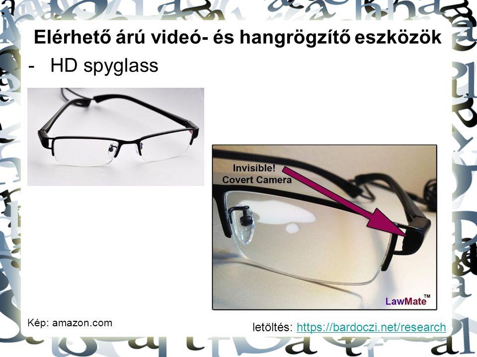 letöltés: https://bardoczi.net/researchhttps://bardoczi.net/research Elérhető árú videó- és hangrögzítő eszközök -HD spyglass Kép: amazon.com