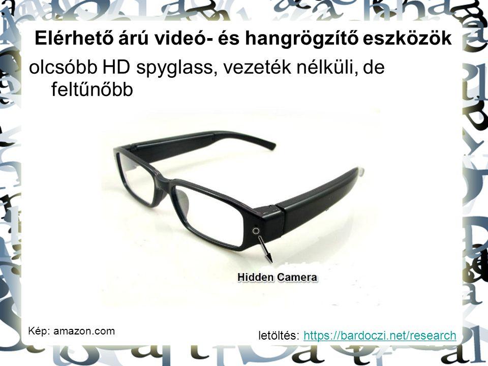 letöltés: https://bardoczi.net/researchhttps://bardoczi.net/research Elérhető árú videó- és hangrögzítő eszközök olcsóbb HD spyglass, vezeték nélküli,