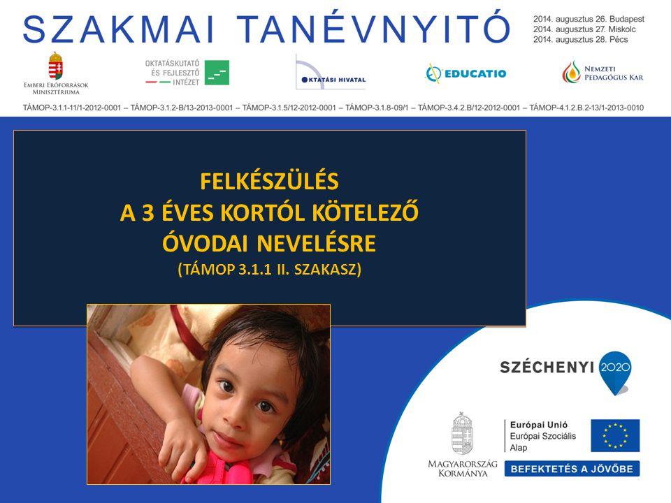"""A szabályozás előzményei A Magyar Kormány Nemzeti Reform Programja (EU- Oktatás és képzés, 2020) kisgyermekkori nevelésben való részvétel szabályozása """"(2020-ig a 4 éves és a tankötelezettség kezdetét elérő gyermekek legalább 95%- a vegyen részt kisgyermekkori nevelésben). 2011."""