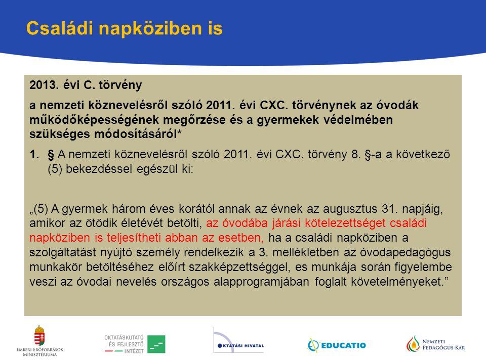 Családi napköziben is 2013. évi C. törvény a nemzeti köznevelésről szóló 2011. évi CXC. törvénynek az óvodák működőképességének megőrzése és a gyermek