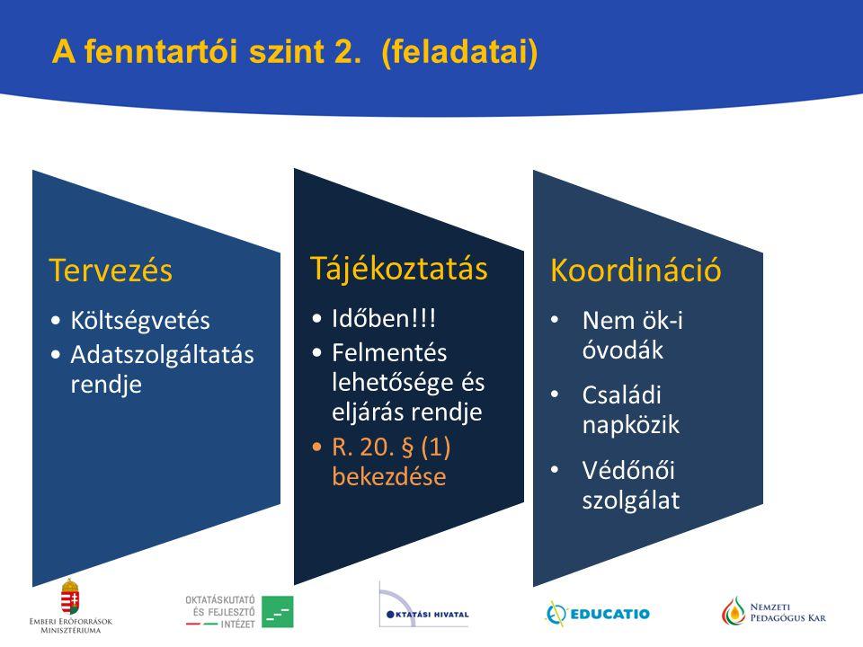 A fenntartói szint 2. (feladatai) Tervezés Költségvetés Adatszolgáltatás rendje Tájékoztatás Időben!!! Felmentés lehetősége és eljárás rendje R. 20. §