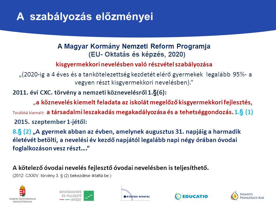A szabályozás előzményei A Magyar Kormány Nemzeti Reform Programja (EU- Oktatás és képzés, 2020) kisgyermekkori nevelésben való részvétel szabályozása