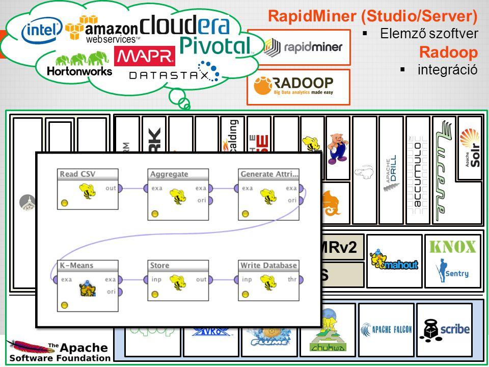 RapidMiner (Studio/Server)  Elemző szoftver Radoop  integráció Adattárolás, erőforrások, biztonság Import/Export interfészek Eszközök Menedzsment HD