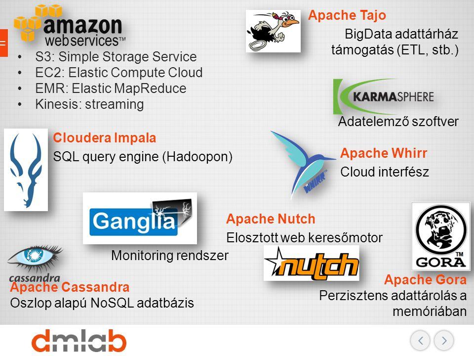 S3: Simple Storage Service EC2: Elastic Compute Cloud EMR: Elastic MapReduce Kinesis: streaming Cloudera Impala SQL query engine (Hadoopon) Apache Cas