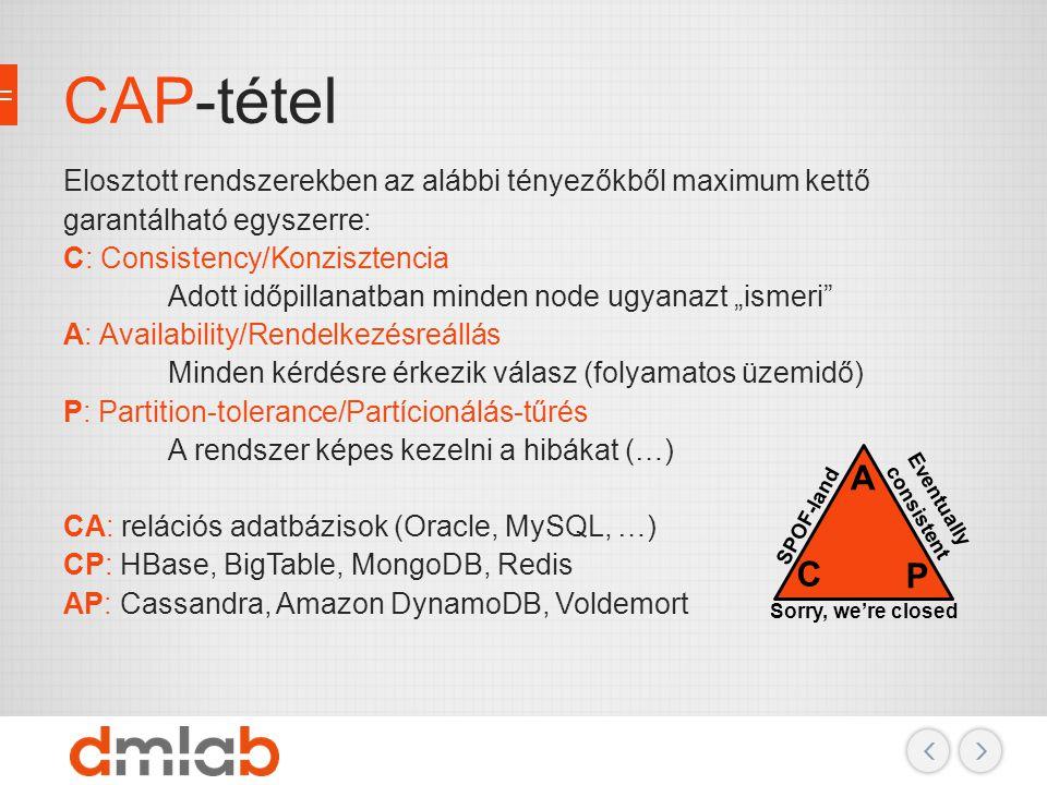 CAP-tétel Elosztott rendszerekben az alábbi tényezőkből maximum kettő garantálható egyszerre: C: Consistency/Konzisztencia Adott időpillanatban minden