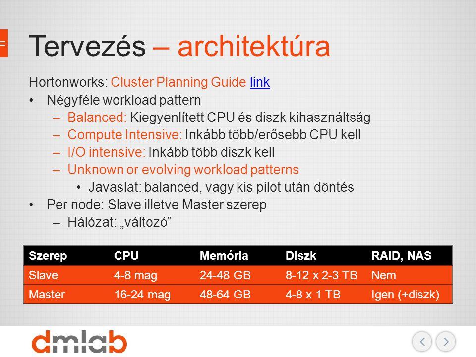 Tervezés – architektúra Hortonworks: Cluster Planning Guide linklink Négyféle workload pattern –Balanced: Kiegyenlített CPU és diszk kihasználtság –Co