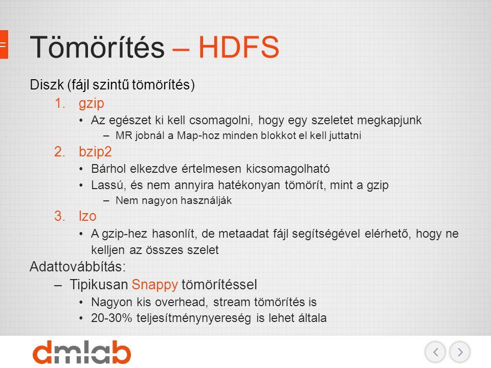 Tömörítés – HDFS Diszk (fájl szintű tömörítés) 1.gzip Az egészet ki kell csomagolni, hogy egy szeletet megkapjunk –MR jobnál a Map-hoz minden blokkot