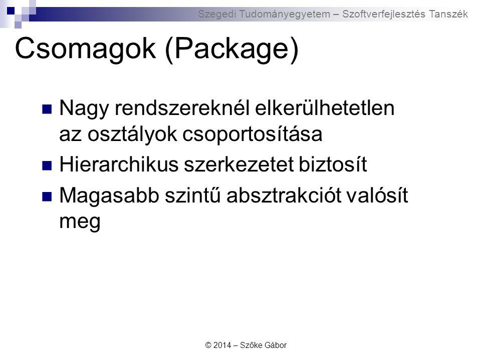 Szegedi Tudományegyetem – Szoftverfejlesztés Tanszék Csomagok (Package) Nagy rendszereknél elkerülhetetlen az osztályok csoportosítása Hierarchikus sz
