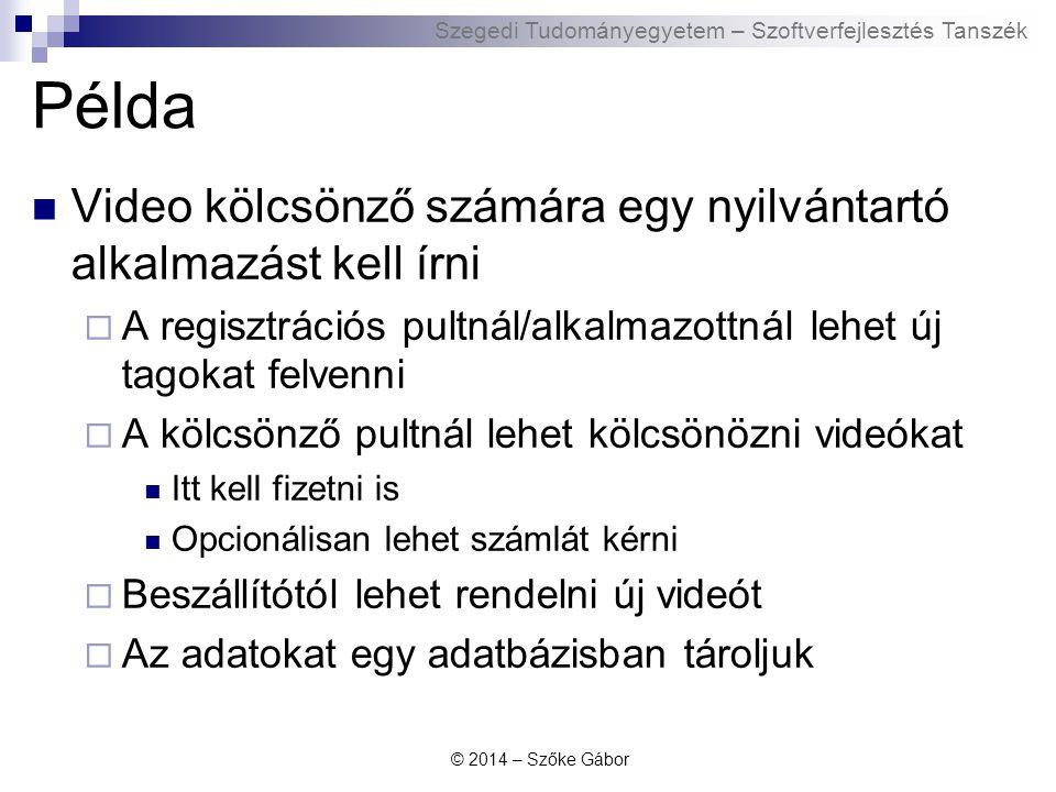 Szegedi Tudományegyetem – Szoftverfejlesztés Tanszék Példa Video kölcsönző számára egy nyilvántartó alkalmazást kell írni  A regisztrációs pultnál/al