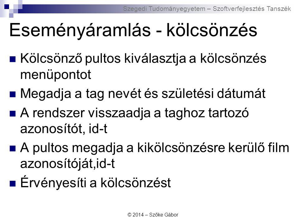 Szegedi Tudományegyetem – Szoftverfejlesztés Tanszék Eseményáramlás - kölcsönzés Kölcsönző pultos kiválasztja a kölcsönzés menüpontot Megadja a tag ne