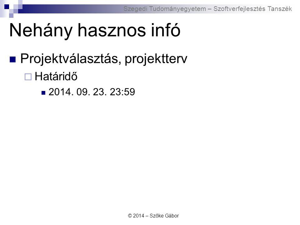 Szegedi Tudományegyetem – Szoftverfejlesztés Tanszék Hasznos UML anyagok UML szabvány honlapja: http://www.uml.org/ http://www.uml.org/  Jelenleg legfrissebb UML szabvány:  http://www.omg.org/technology/documents/modeling_spe c_catalog.htm#UML OMG Introduction to UML: http://www.omg.org/gettingstarted/what_is_uml.htm http://www.omg.org/gettingstarted/what_is_uml.htm Borland UML tutorial: http://edn.embarcadero.com/article/31863 http://edn.embarcadero.com/article/31863 Sparx System UML tutorial: http://www.sparxsystems.com/uml-tutorial.html http://www.sparxsystems.com/uml-tutorial.html IBM UML introduction: http://www.ibm.com/developerworks/rational/library/769.html http://www.ibm.com/developerworks/rational/library/769.html UML a wikipedian: http://en.wikipedia.org/wiki/Unified_Modeling_Language http://en.wikipedia.org/wiki/Unified_Modeling_Language © 2014 – Szőke Gábor