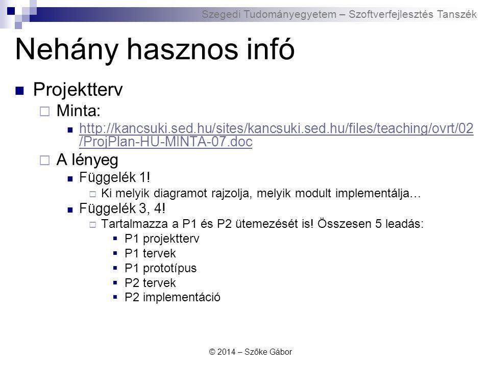 Szegedi Tudományegyetem – Szoftverfejlesztés Tanszék Nehány hasznos infó Projektterv  Minta: http://kancsuki.sed.hu/sites/kancsuki.sed.hu/files/teach