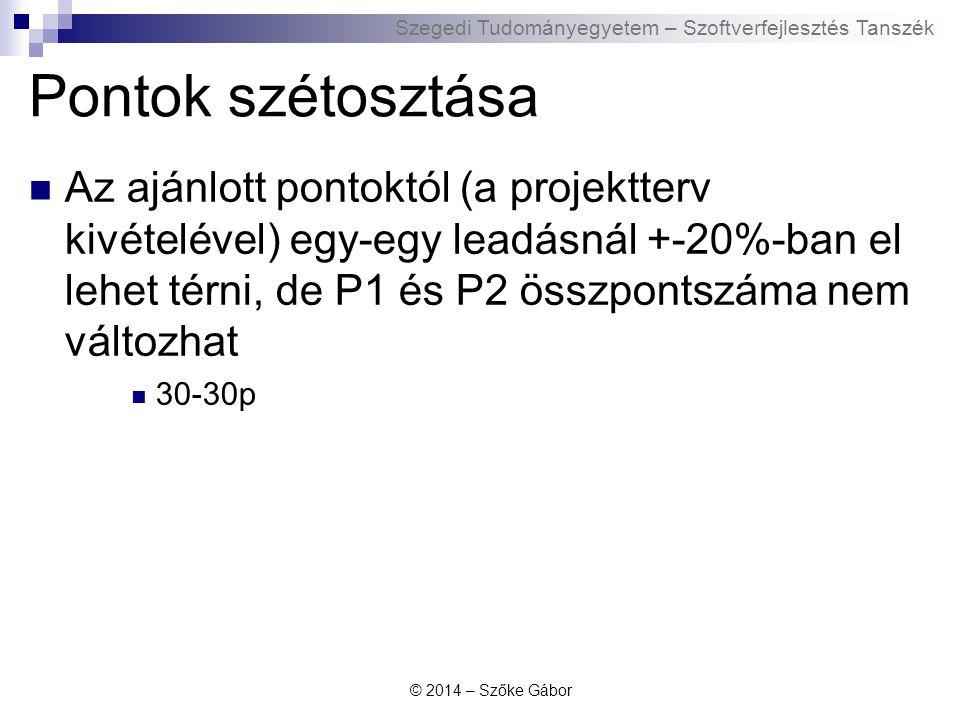 Szegedi Tudományegyetem – Szoftverfejlesztés Tanszék Pontok szétosztása Az ajánlott pontoktól (a projektterv kivételével) egy-egy leadásnál +-20%-ban