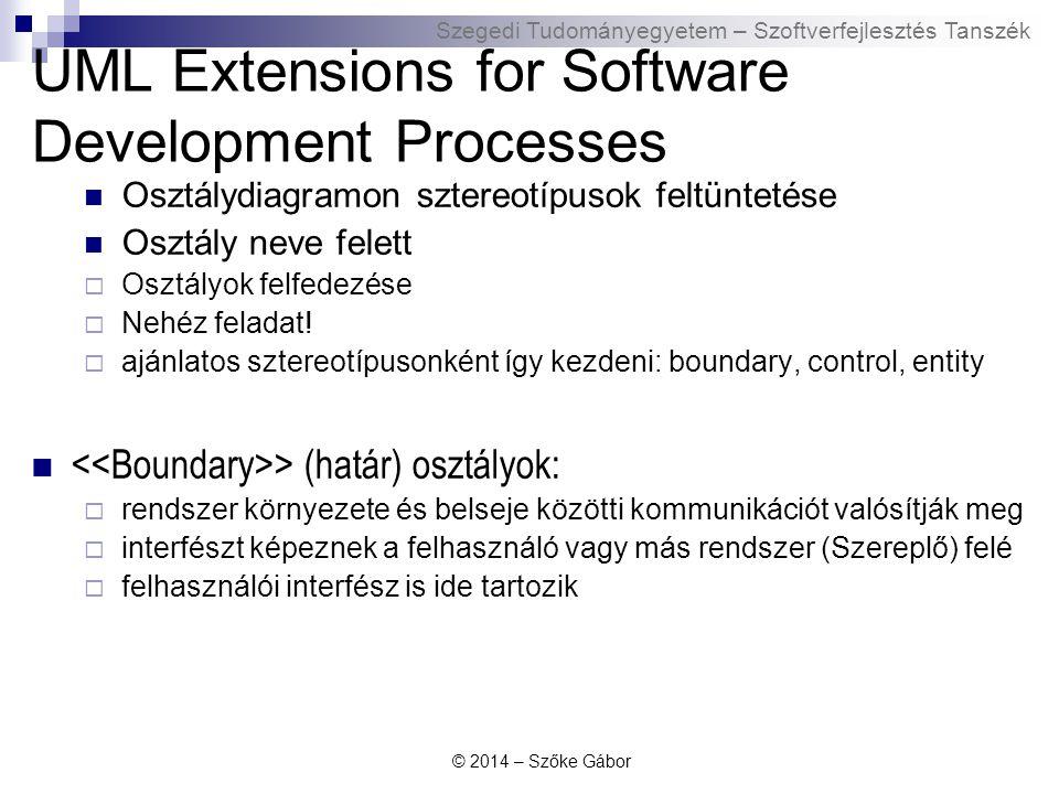 """Szegedi Tudományegyetem – Szoftverfejlesztés Tanszék UML Extensions for Software Development Processes > (vezérlő) osztályok :  használati eset(ek) szekvenciális viselkedését valósítják meg  """"használati eset végrehajtását végzi  általában egy szereplő/használati eset párhoz hozzátartozik egy Control osztály  entitás osztályhoz tartozzon a funkcionalitás, vagy új vezérlő osztályba kerüljön."""