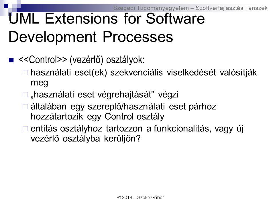 Szegedi Tudományegyetem – Szoftverfejlesztés Tanszék UML Extensions for Software Development Processes > (vezérlő) osztályok :  használati eset(ek) s