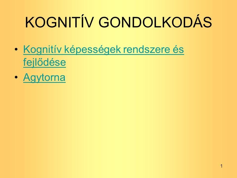 KOGNITÍV GONDOLKODÁS Kognitív képességek rendszere és fejlődéseKognitív képességek rendszere és fejlődése Agytorna 1