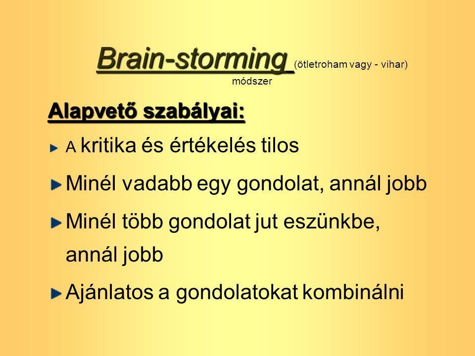 Brain-storming Brain-storming (ötletroham vagy - vihar) módszer Alapvető szabályai: A kritika és értékelés tilos Minél vadabb egy gondolat, annál jobb