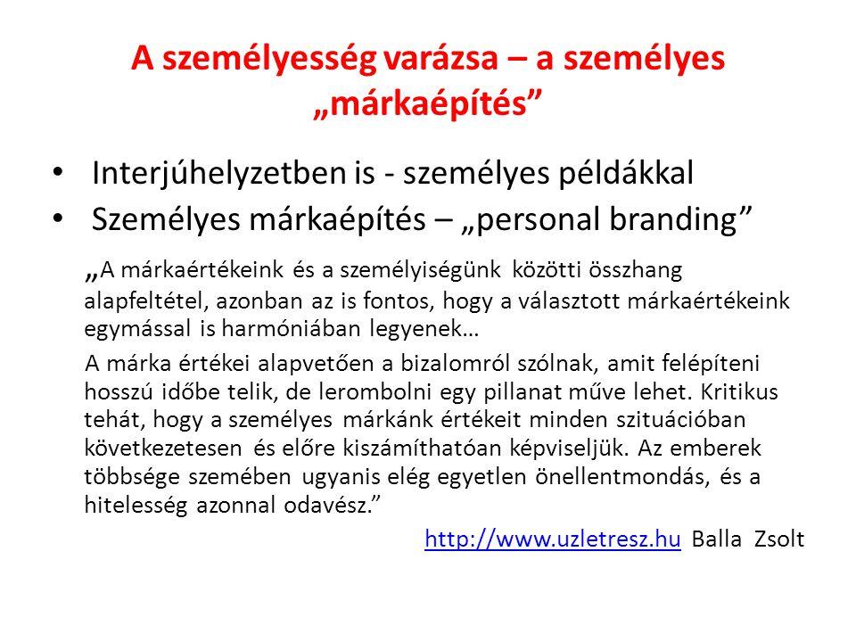 """A személyesség varázsa – a személyes """"márkaépítés"""" Interjúhelyzetben is - személyes példákkal Személyes márkaépítés – """"personal branding"""" """" A márkaért"""