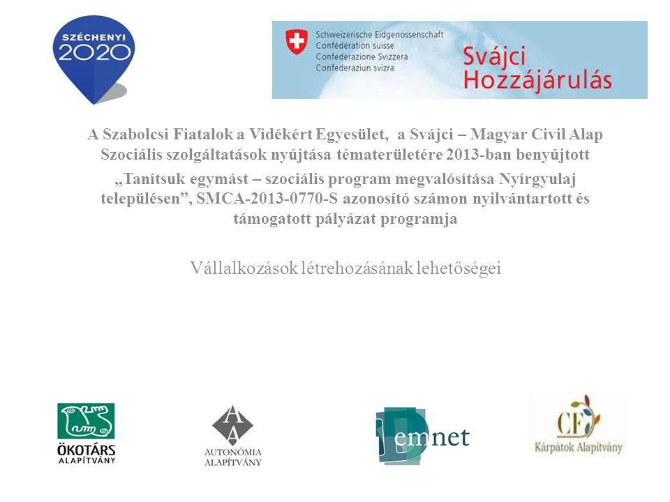 """A Szabolcsi Fiatalok a Vidékért Egyesület, a Svájci – Magyar Civil Alap Szociális szolgáltatások nyújtása tématerületére 2013-ban benyújtott """"Tanítsuk egymást – szociális program megvalósítása Nyírgyulaj településen , SMCA-2013-0770-S azonosító számon nyilvántartott és támogatott pályázat programja Vállalkozások létrehozásának lehetőségei"""