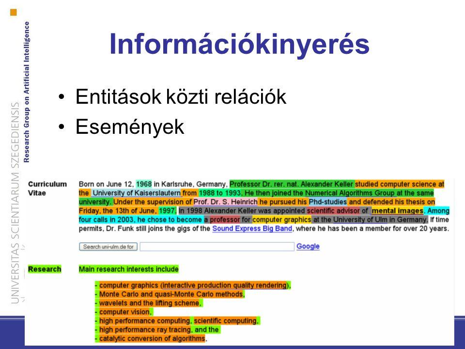 Információkinyerés Entitások közti relációk Események