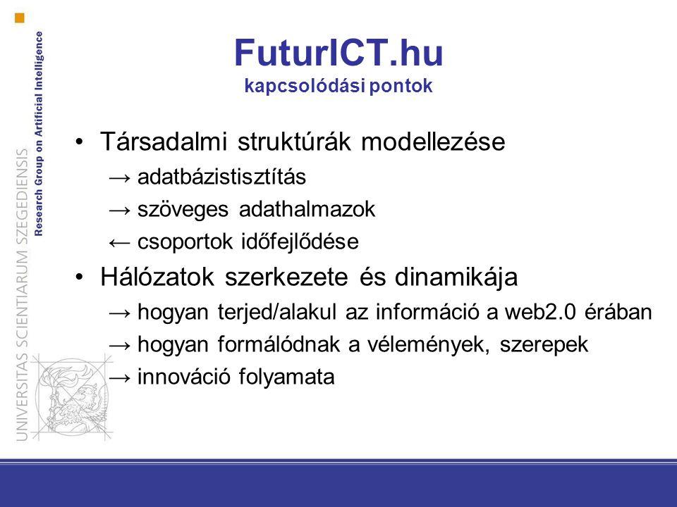Társadalmi struktúrák modellezése → adatbázistisztítás → szöveges adathalmazok ← csoportok időfejlődése Hálózatok szerkezete és dinamikája → hogyan terjed/alakul az információ a web2.0 érában → hogyan formálódnak a vélemények, szerepek → innováció folyamata FuturICT.hu kapcsolódási pontok