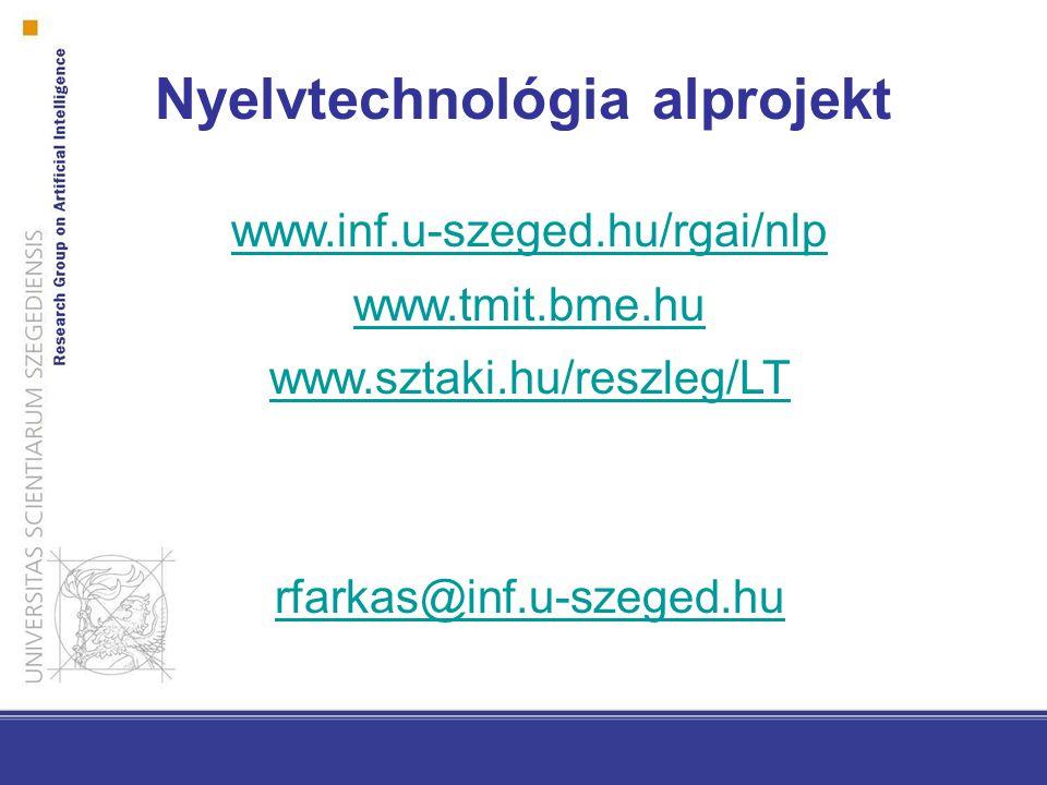 www.inf.u-szeged.hu/rgai/nlp www.tmit.bme.hu www.sztaki.hu/reszleg/LT rfarkas@inf.u-szeged.hu Nyelvtechnológia alprojekt