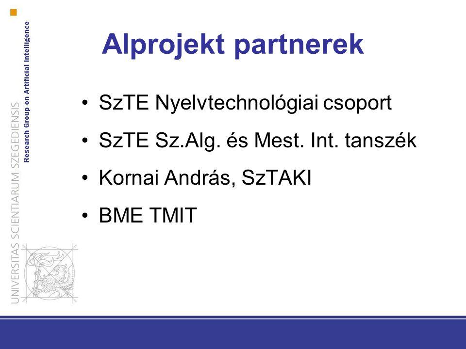 Alprojekt partnerek SzTE Nyelvtechnológiai csoport SzTE Sz.Alg.