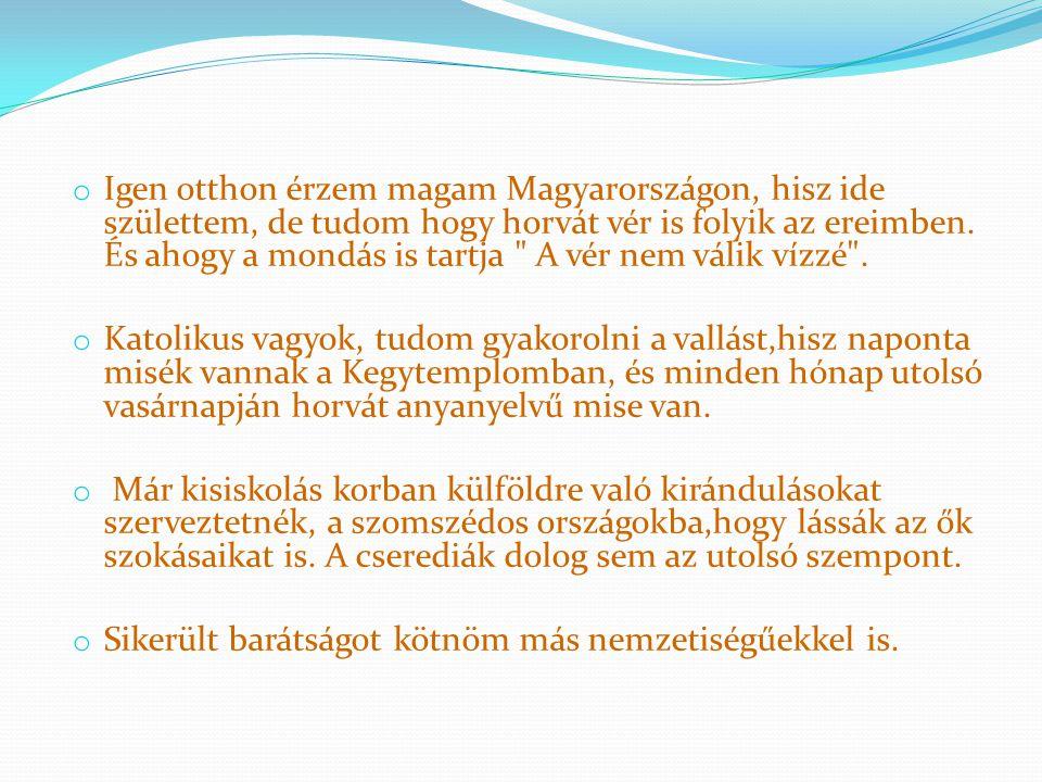 o Igen otthon érzem magam Magyarországon, hisz ide születtem, de tudom hogy horvát vér is folyik az ereimben.
