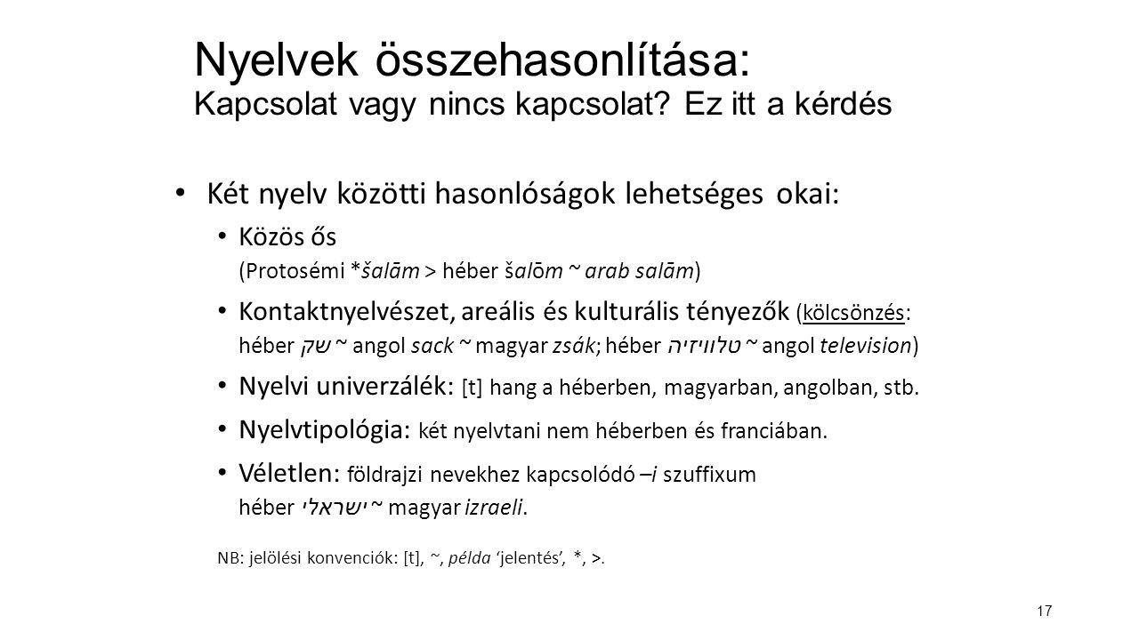 17 Nyelvek összehasonlítása: Kapcsolat vagy nincs kapcsolat.