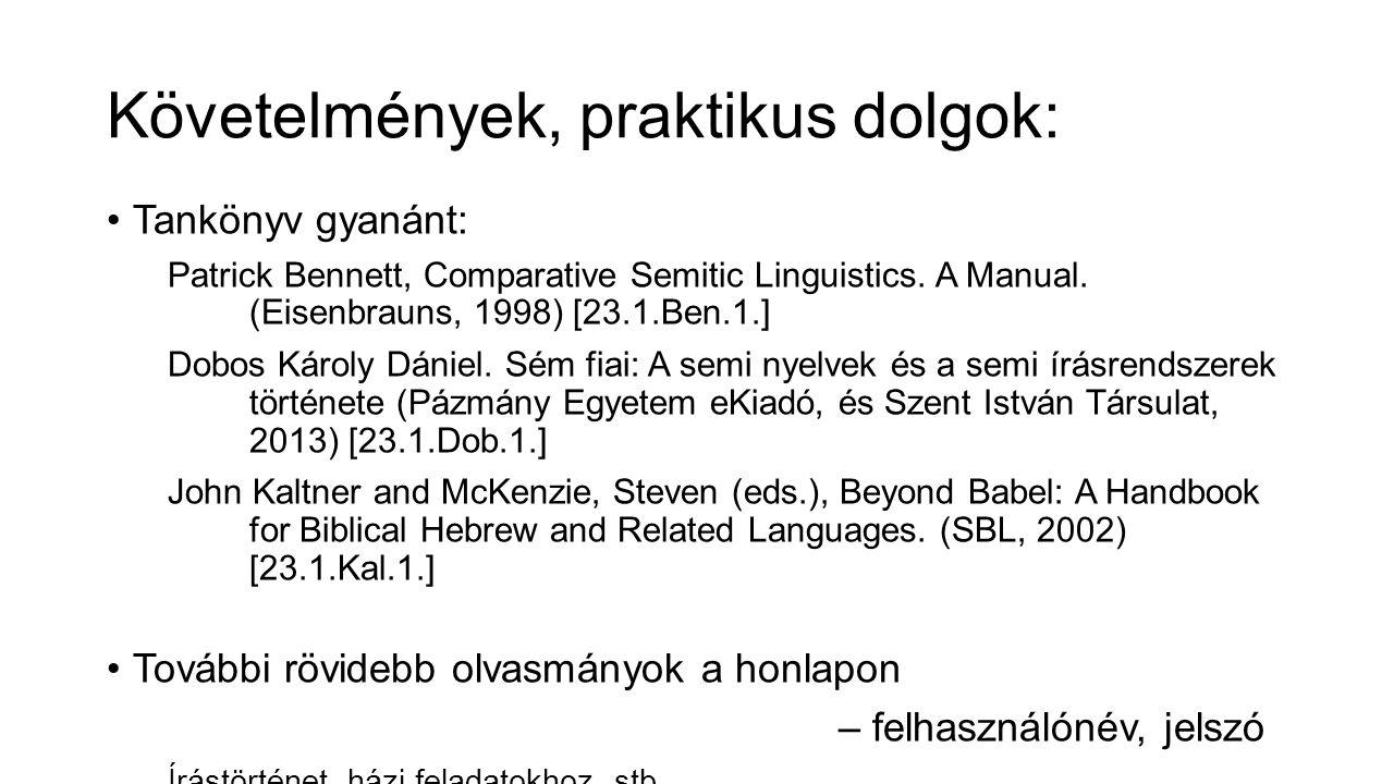 Követelmények, praktikus dolgok: Tankönyv gyanánt: Patrick Bennett, Comparative Semitic Linguistics.