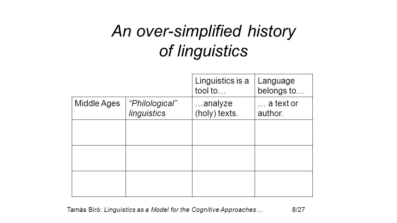 "Tamás Biró: Linguistics as a Model for the Cognitive Approaches… 8/27 Linguistics is a tool to… Language belongs to… Middle Ages""Philological"" linguis"