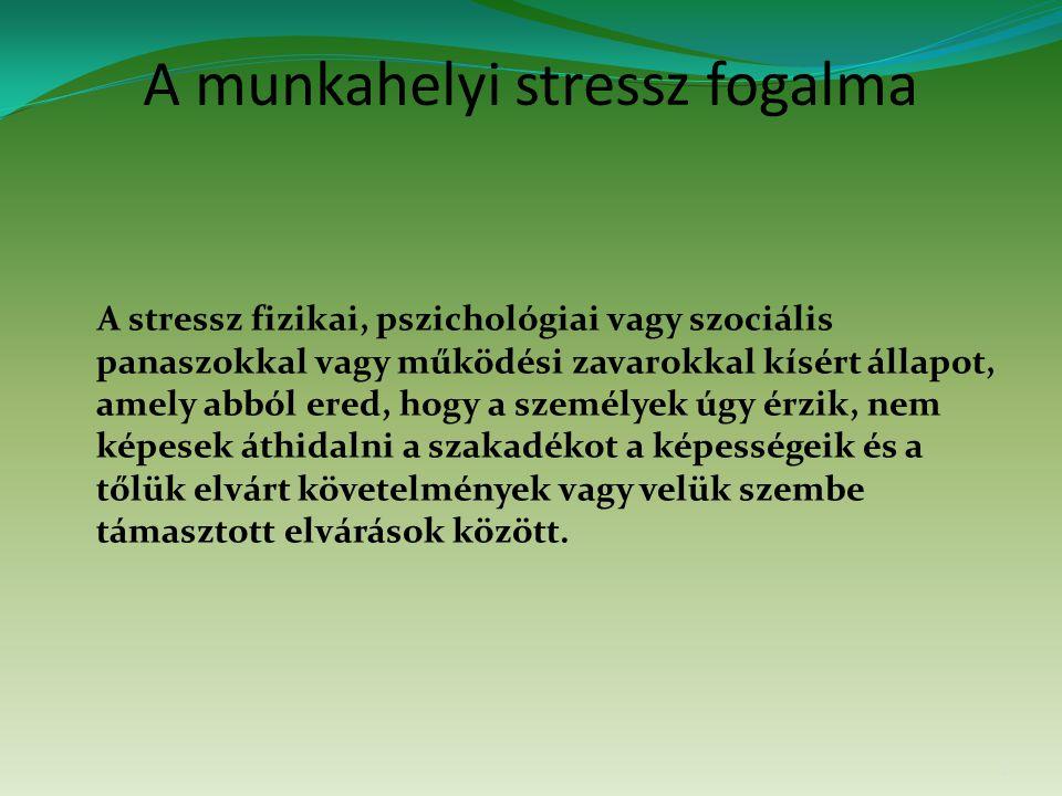 A munkahelyi stressz fogalma A stressz fizikai, pszichológiai vagy szociális panaszokkal vagy működési zavarokkal kísért állapot, amely abból ered, hogy a személyek úgy érzik, nem képesek áthidalni a szakadékot a képességeik és a tőlük elvárt követelmények vagy velük szembe támasztott elvárások között.