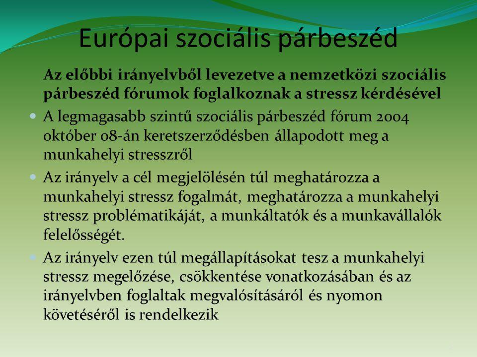 Európai szociális párbeszéd Az előbbi irányelvből levezetve a nemzetközi szociális párbeszéd fórumok foglalkoznak a stressz kérdésével A legmagasabb szintű szociális párbeszéd fórum 2004 október 08-án keretszerződésben állapodott meg a munkahelyi stresszről Az irányelv a cél megjelölésén túl meghatározza a munkahelyi stressz fogalmát, meghatározza a munkahelyi stressz problématikáját, a munkáltatók és a munkavállalók felelősségét.