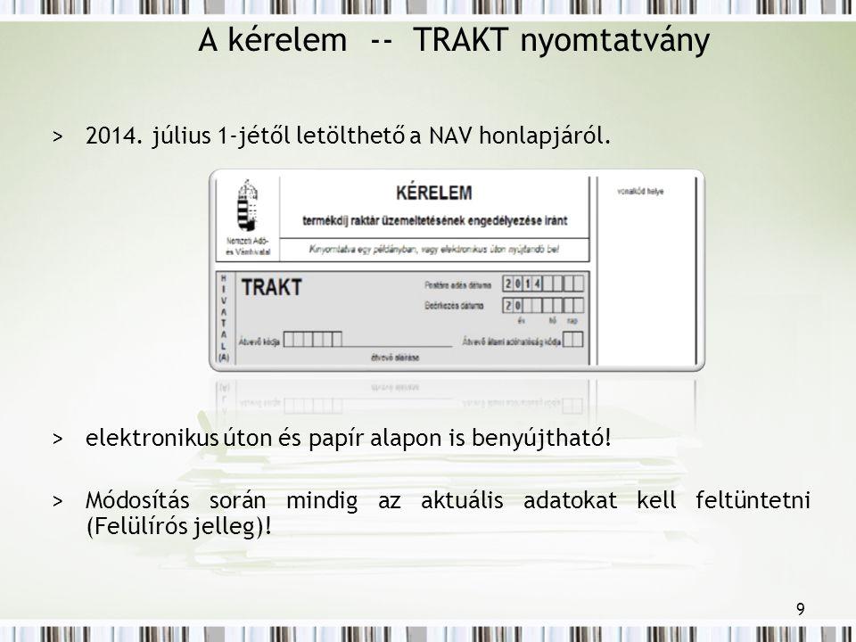 A kérelem -- TRAKT nyomtatvány >2014. július 1-jétől letölthető a NAV honlapjáról.