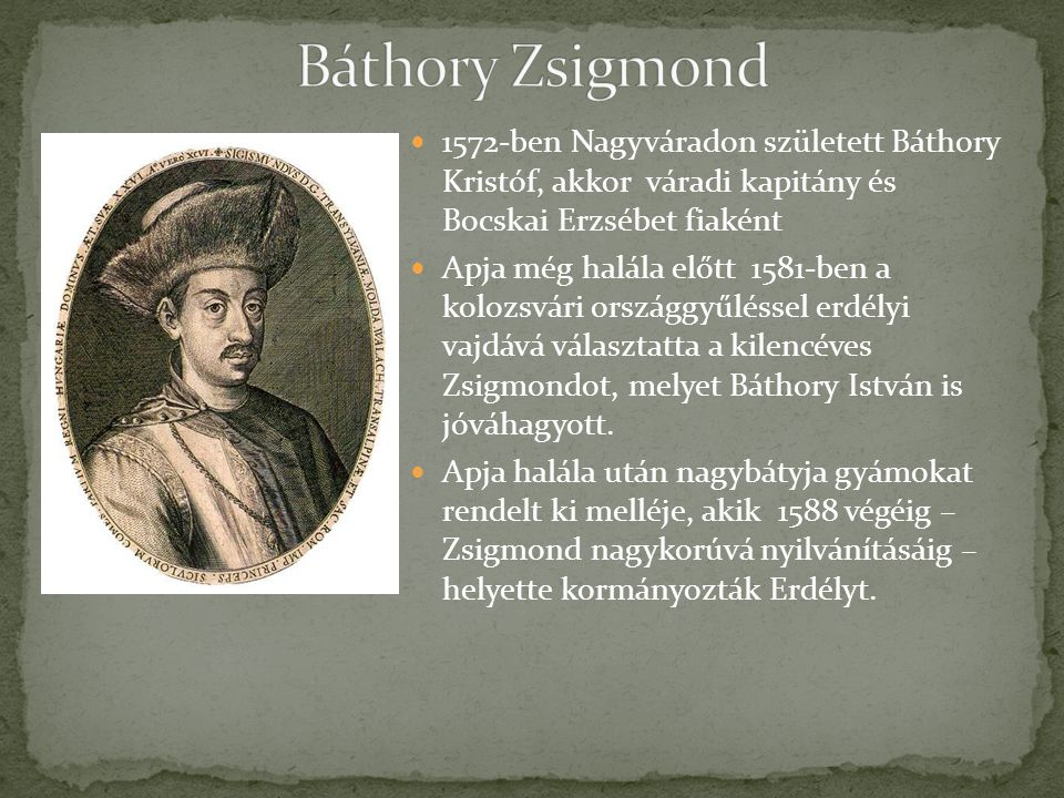 1572-ben Nagyváradon született Báthory Kristóf, akkor váradi kapitány és Bocskai Erzsébet fiaként Apja még halála előtt 1581-ben a kolozsvári országgyűléssel erdélyi vajdává választatta a kilencéves Zsigmondot, melyet Báthory István is jóváhagyott.