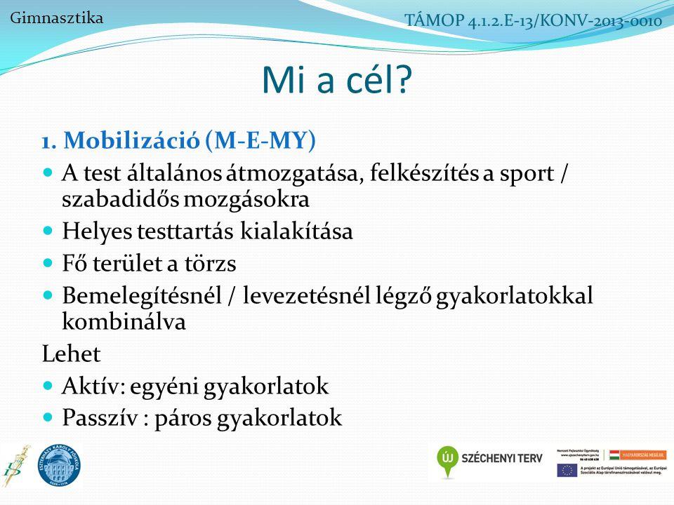 Mi a cél? 1. Mobilizáció (M-E-MY) A test általános átmozgatása, felkészítés a sport / szabadidős mozgásokra Helyes testtartás kialakítása Fő terület a