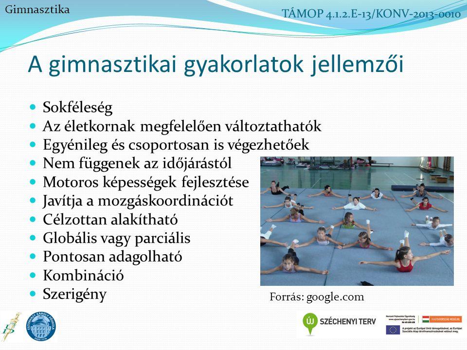 A gimnasztikai gyakorlatok jellemzői Sokféleség Az életkornak megfelelően változtathatók Egyénileg és csoportosan is végezhetőek Nem függenek az időjá