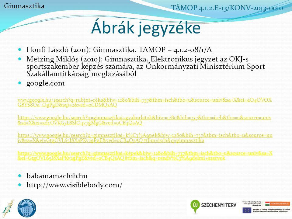Ábrák jegyzéke Honfi László (2011): Gimnasztika. TAMOP – 4.1.2-08/1/A Metzing Miklós (2010): Gimnasztika. Elektronikus jegyzet az OKJ-s sportszakember