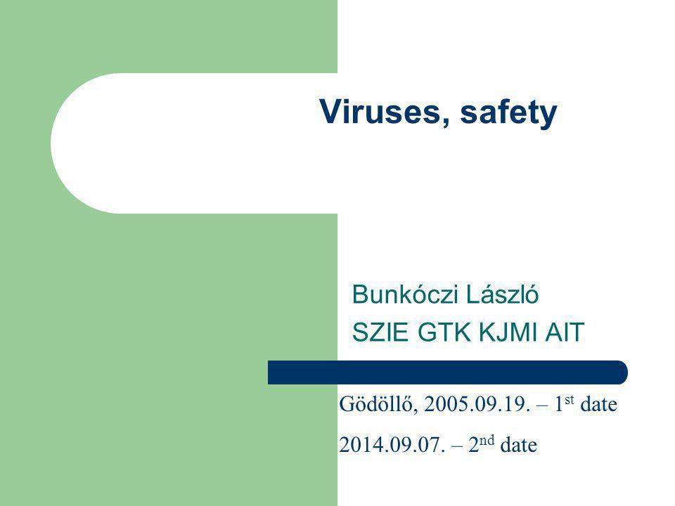 Viruses, safety Bunkóczi László SZIE GTK KJMI AIT Gödöllő, 2005.09.19.