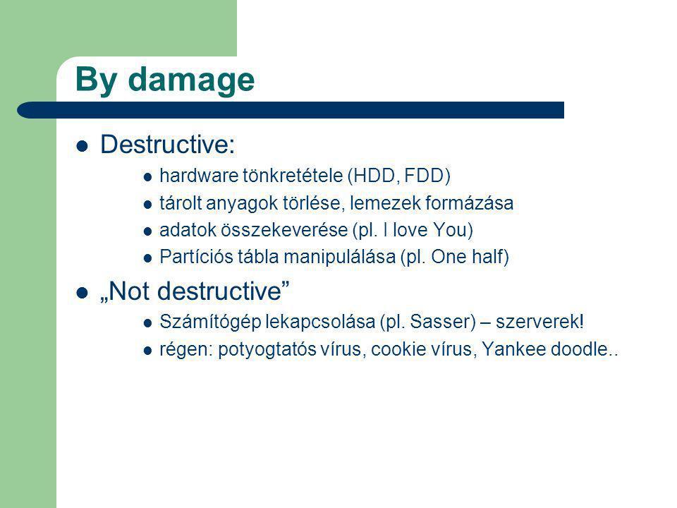 By damage Destructive: hardware tönkretétele (HDD, FDD) tárolt anyagok törlése, lemezek formázása adatok összekeverése (pl.
