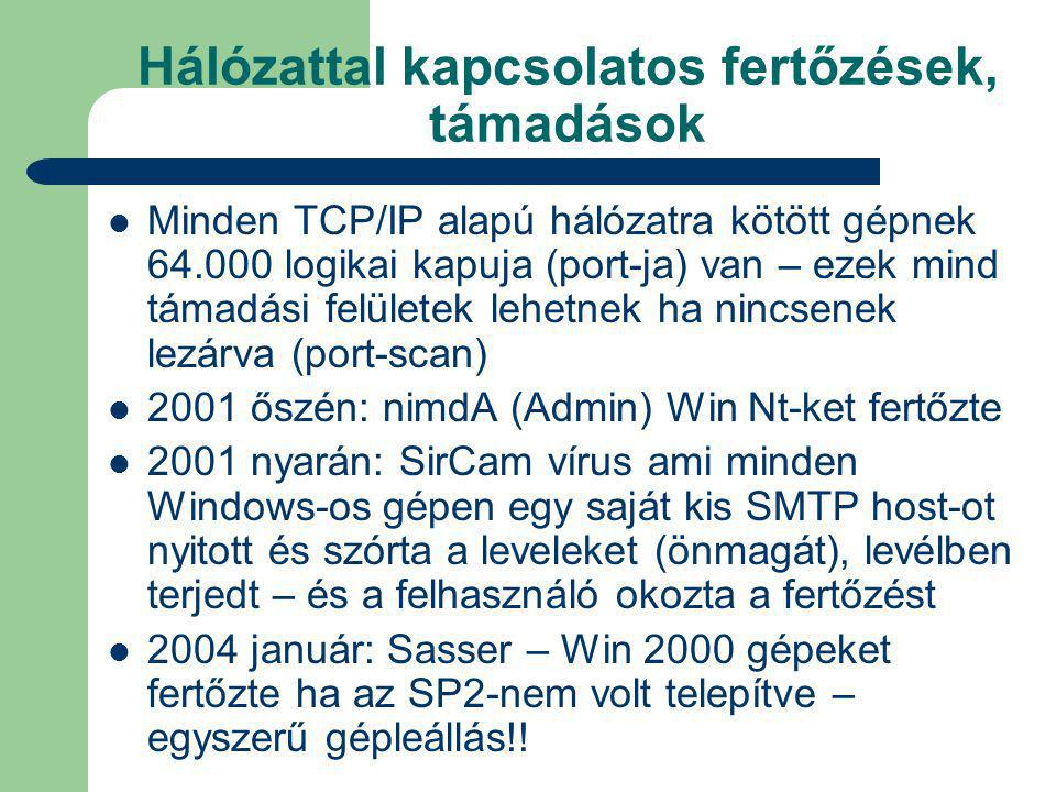Hálózattal kapcsolatos fertőzések, támadások Minden TCP/IP alapú hálózatra kötött gépnek 64.000 logikai kapuja (port-ja) van – ezek mind támadási felületek lehetnek ha nincsenek lezárva (port-scan) 2001 őszén: nimdA (Admin) Win Nt-ket fertőzte 2001 nyarán: SirCam vírus ami minden Windows-os gépen egy saját kis SMTP host-ot nyitott és szórta a leveleket (önmagát), levélben terjedt – és a felhasználó okozta a fertőzést 2004 január: Sasser – Win 2000 gépeket fertőzte ha az SP2-nem volt telepítve – egyszerű gépleállás!!