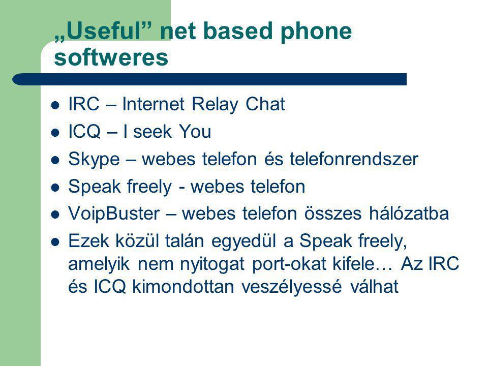 """""""Useful net based phone softweres IRC – Internet Relay Chat ICQ – I seek You Skype – webes telefon és telefonrendszer Speak freely - webes telefon VoipBuster – webes telefon összes hálózatba Ezek közül talán egyedül a Speak freely, amelyik nem nyitogat port-okat kifele… Az IRC és ICQ kimondottan veszélyessé válhat"""