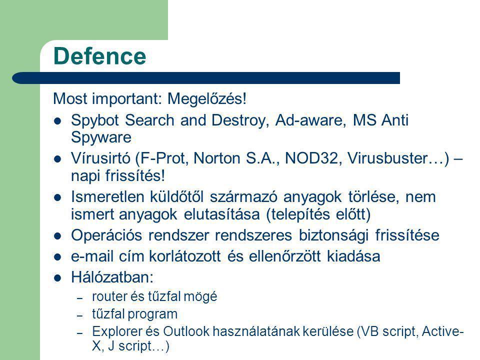 Defence Most important: Megelőzés.