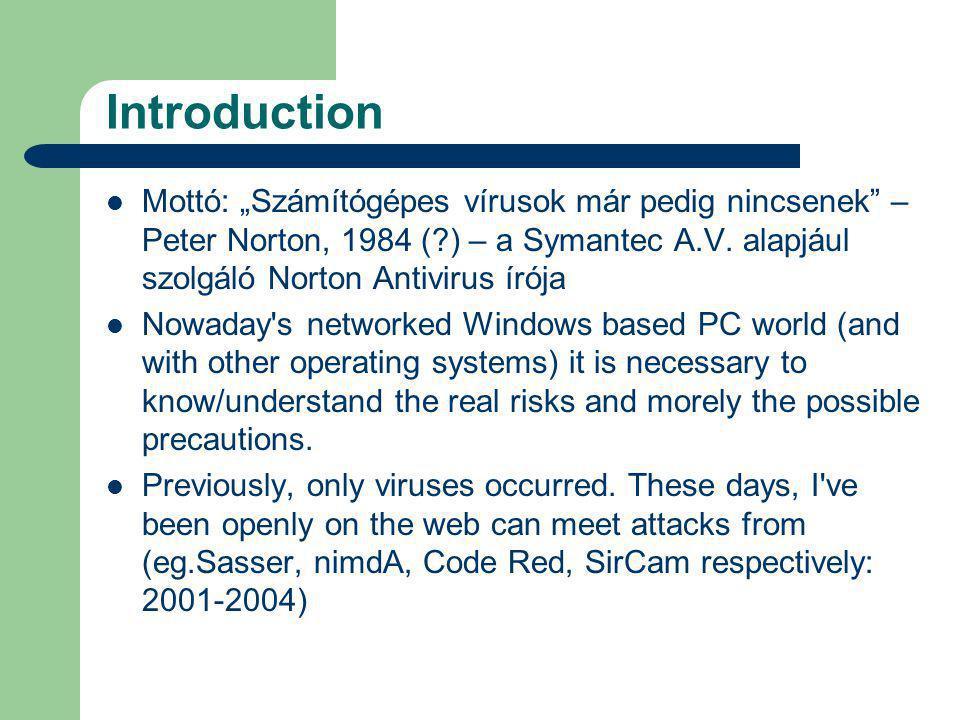 """Introduction Mottó: """"Számítógépes vírusok már pedig nincsenek – Peter Norton, 1984 (?) – a Symantec A.V."""