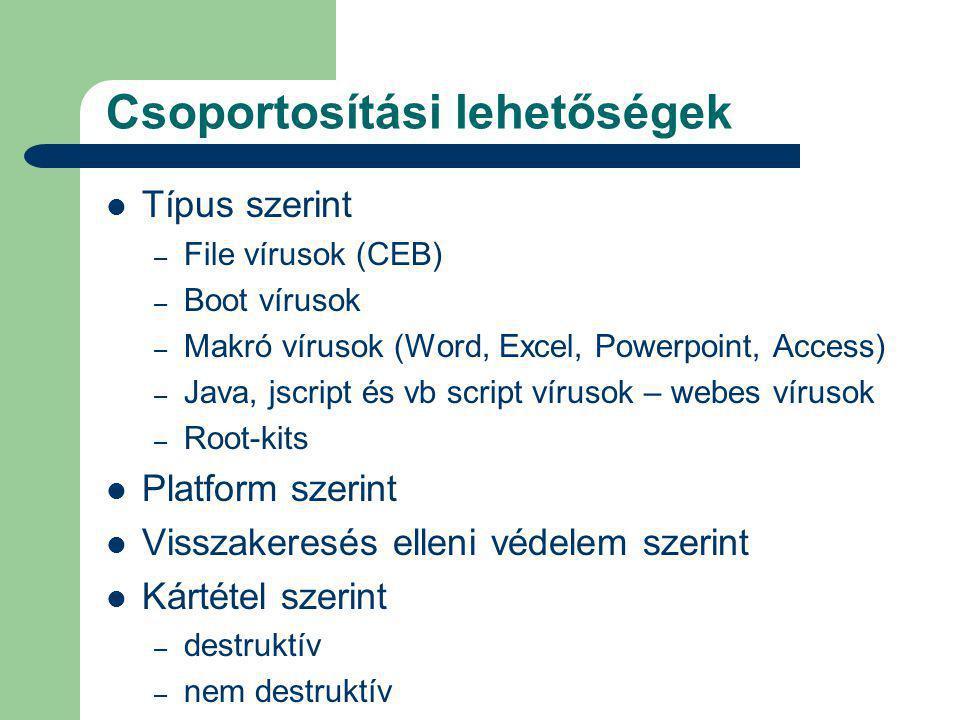 Csoportosítási lehetőségek Típus szerint – File vírusok (CEB) – Boot vírusok – Makró vírusok (Word, Excel, Powerpoint, Access) – Java, jscript és vb script vírusok – webes vírusok – Root-kits Platform szerint Visszakeresés elleni védelem szerint Kártétel szerint – destruktív – nem destruktív
