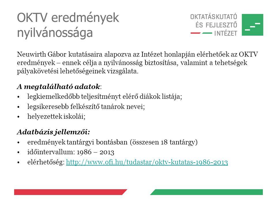 OKTV eredmények nyilvánossága Neuwirth Gábor kutatásaira alapozva az Intézet honlapján elérhetőek az OKTV eredmények – ennek célja a nyilvánosság bizt